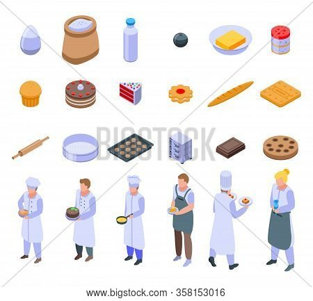 Confectioner Icons Set. Isometric Set Of Confectioner Vector Icons For Web Design Isolated On White