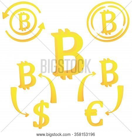 Bitcoin Internet Virtual Cryptocurrency Symbol Icon Vector Illustration On A White Background
