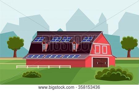 Solar Batteries Electricity Generator On Farm Vector Illustration. Install Photovoltaic Panels On Ro