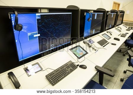 Air Traffic Control Simulator Station. Airplanes Control.