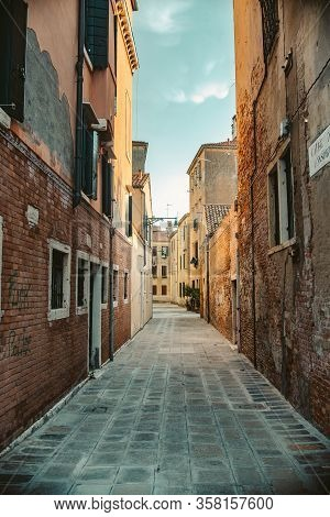 Close Up Classic Road In Venice, Italy