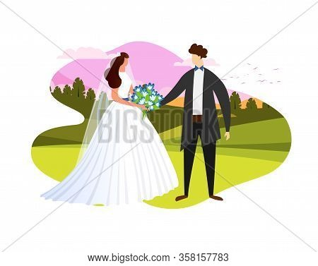 Young Lady In White Wedding Dress Holding Flowers Bouquet Standing Together With Man In Groom Suit O