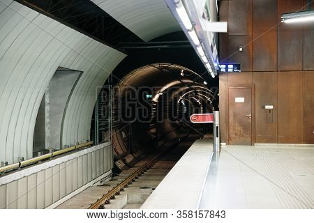 Close Up On Tunnel In Metro Station
