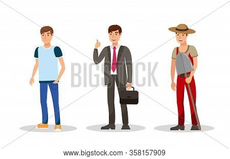 Young Men Careers Flat Vector Color Characters Set. Cartoon Student, Businessman, Farmer With Shovel