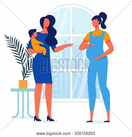 Young Mothers Conversation Vector Illustration. Pregnant Lady And Woman Holding Toddler Cartoon Char