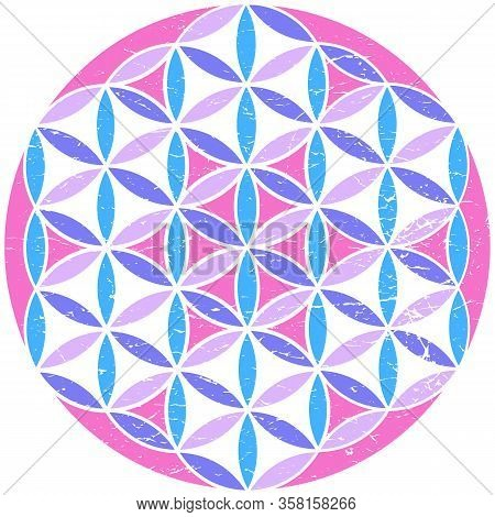 Sacred Geometry Flower Of Life Psychedelic Colors Isolated Vector Illustration. Esoteric Sacred Geom