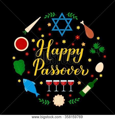 Happy Passover Calligraphy Hand Lettering With Traditional Symbols. Jewish Holiday Circle Label. Vec