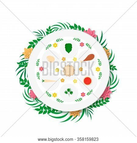 Passover Ceder Plate With Traditional Food With Flowers And Leaves. Jewish Holiday Easter. Easy To E