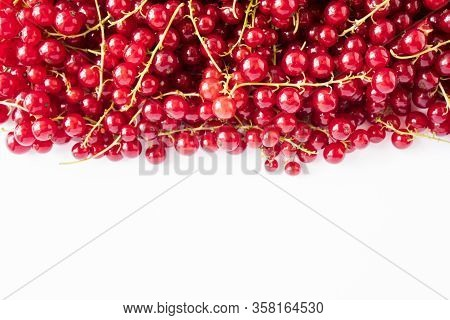 Red Currants On White Background. Ripe Berries Closeup. Red Currants At Border Of Image With Copy Sp