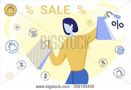 Clothing Discounts Flat Vector Banner Template. Elegant Lady With Shopping Bags Cartoon Character. T