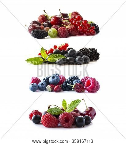 Ripe Berries And Fruits Isolated On White Background.juicy And Delicious Berries And Fruits On White