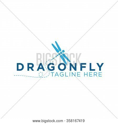 Dragon Fly Icon With Typography Letter Dragon Fly. Dragon Fly Icon Trendy And Modern Symbol For Grap