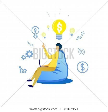 Information Flyer Company Valuation Cartoon Flat. Banner Man Sits In Frameless Chair And Works On La