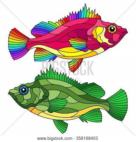 A Set Of Stained Glass Elements With Abstract Bright Fish Isolated On A White Background