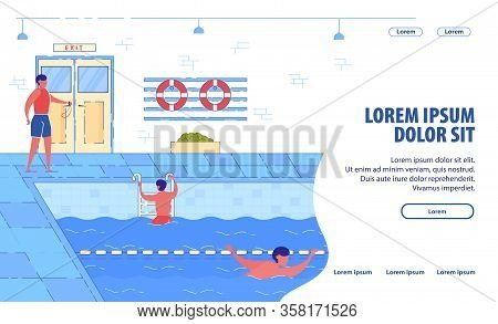 Swimming Pool In Fitness Center Banner. Swimming Classes, Sport Training Program. Cartoon Male Swimm