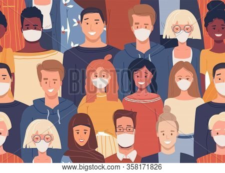 Vector Seamless Pattern In Flat Style With People Wearing Medical Masks. Different Nationalities. Ha
