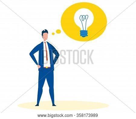 Visionary Man Having Plan Flat Vector Illustration. Confident Man With Hands On Waist Gesture. Carto