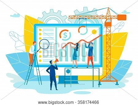 Vector Illustration Successful Executive Flat. Men And Women Improve Performance. Male Leader In Sui