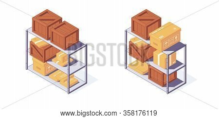 Isometric Warehouse Wooden And Carton Boxes Pallets And Shelf. 3d Box Pallets Shelving Racking Vecto