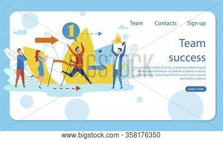 Vector Illustration Is Written Team Success Flat. Man In Casual Wear Reaches Finish Line First. Winn