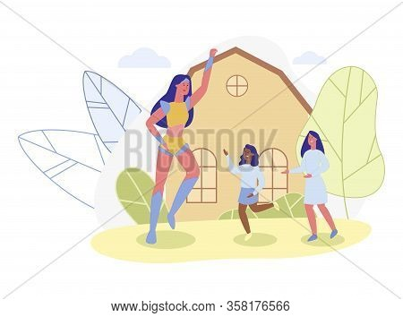 Two Daughters And Their Mother, Playing In Open. Super Mom, Dressed In Wonder Hero Costume, Having F