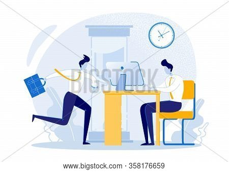 Urgent Matters Which Boldly Delegate To Colleague. Man Runs Through Office, Guy Works At Computer. C