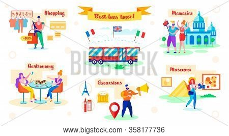 Set Best Bus Tour, Shopping And Gastronomy, Flat. People Visit Excursion, Memories And Museums. In F
