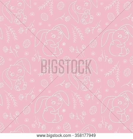 Seamless Pattern With Cute Bunnies For Easter. Vector Illustration