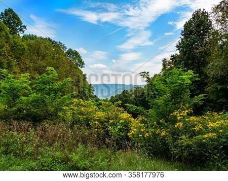 Beautiful Scenic Mountain Vista In Ohiopyle, Pa Nestled In The Laurel Highlands With Blue Cloud Fill