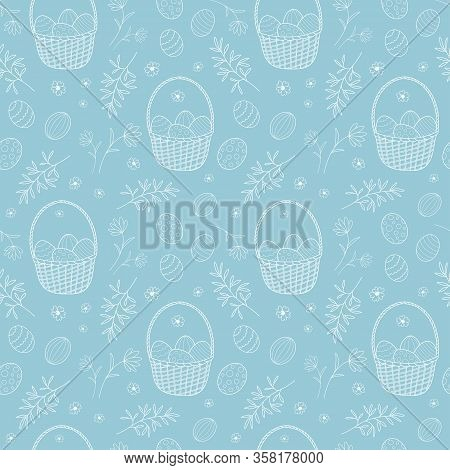 Seamless Pattern With Egg Baskets And Plant Elements For Easter. Vector Illustration