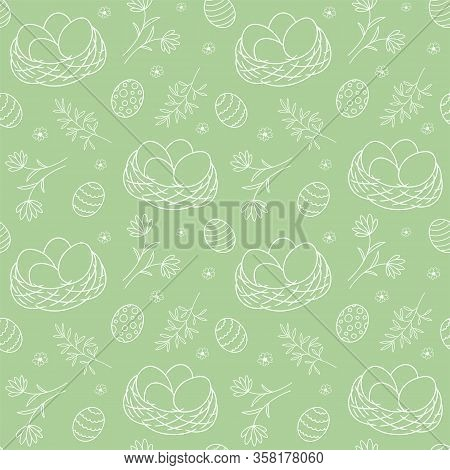 Seamless Pattern With Nests And Plant Elements For Easter. Vector Illustration
