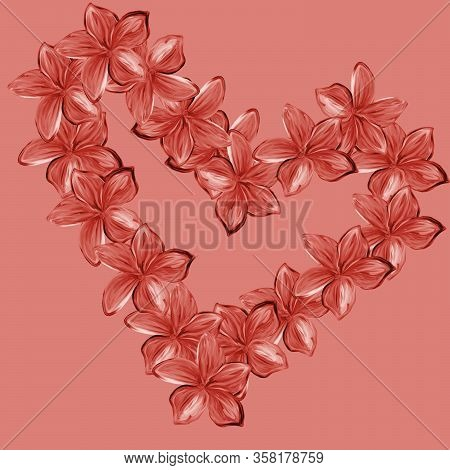 Pink Frangipani Plumeria Flowers In Shape Of Heart On Pink Background.valentine Card. Mothers Day Ca