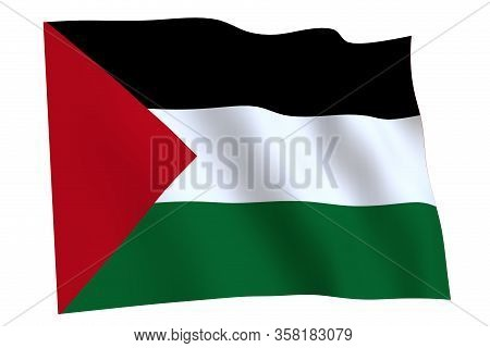 Palestine Flag, 3d Render. Flag Of Palestine Waving In The Wind, Isolated On White Background.