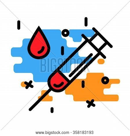 Medical Syringe And A Drop Blod Icon Flat And Line Modern Style Illustration Isolated On A Backgroun