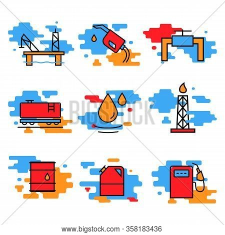 Petrol Industry Container For Liquid Icon Symbol Oil And Petrol Modern Bright Color Symbol.fuel, Die