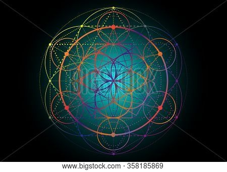 Seed Of Life Symbol Sacred Geometry.  Geometric Mystic Mandala Of Alchemy Esoteric Flower Of Life. V