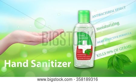 Hand Sanitizer Gel Ads. Antibacterial Effect, Antiseptic Hand Gel In Bottles With Leaves Elements. H