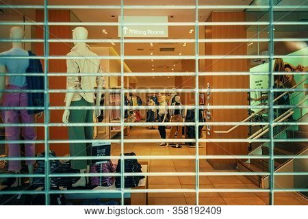 NEW YORK, USA - MARCH 21, 2020: Stores and sevices closed as the result of COVID-19 coronavirus pandemic outbreak in New York City.