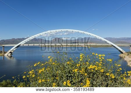 Roosevelt Lake Bridge White Metal Rainbow Arch Over Water Flowers In Foreground