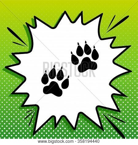Animal Tracks Sign. Black Icon On White Popart Splash At Green Background With White Spots. Illustra