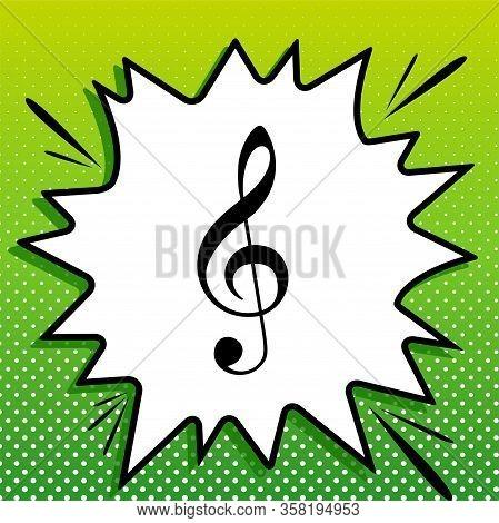 Music Violin Clef Sign. G-clef. Treble Clef. Black Icon On White Popart Splash At Green Background W