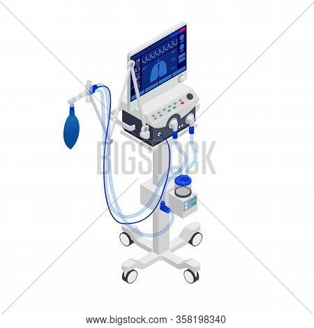 Isometric Ventilator Medical Machine Designed To Provide Mechanical Ventilation By Moving Breathable