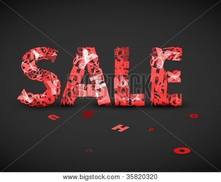 Vector red sale label made from various letters