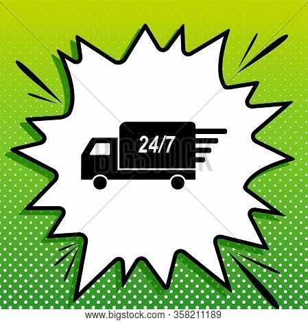 Home Delivery Sign. Black Icon On White Popart Splash At Green Background With White Spots. Illustra