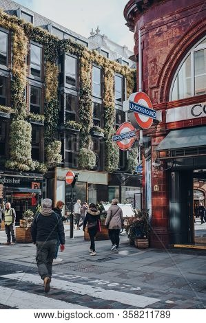 London, Uk - March 06, 2020: People Walking Outside Covent Garden Station In London, Selective Focus
