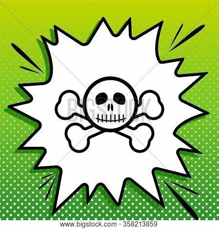 Crossbones Sign. Black Icon On White Popart Splash At Green Background With White Spots. Illustratio