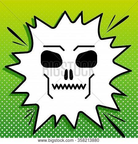 Skull Sign. Black Icon On White Popart Splash At Green Background With White Spots. Illustration.