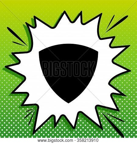 Shield Sign. Black Icon On White Popart Splash At Green Background With White Spots. Illustration.