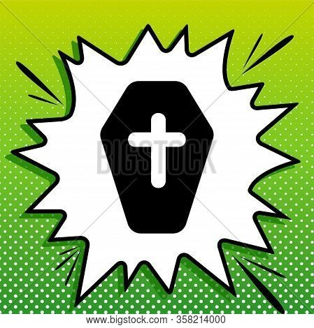 Wooden Coffin Sign. Black Icon On White Popart Splash At Green Background With White Spots. Illustra