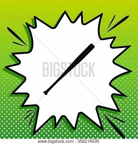 Baseball Crossed Bat Icon. Black Icon On White Popart Splash At Green Background With White Spots. I